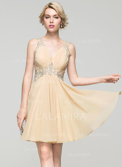 A-Line/Princess V-neck Short/Mini Chiffon Homecoming Dresses With Ruffle Lace Beading Sequins (022214100)