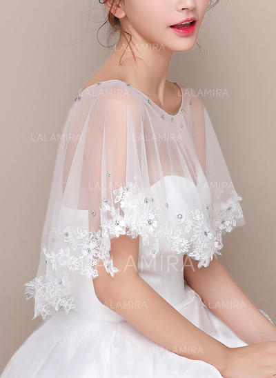 Wrap Wedding Lace Tulle Sleeveless With Lace Wraps (013150194)