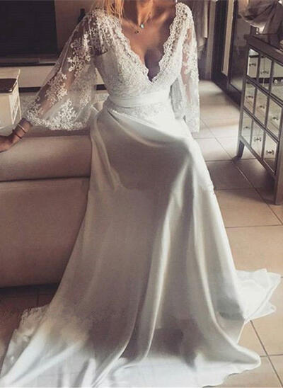 A-Line/Princess Chiffon Long Sleeves Deep V Neck Sweep Train Wedding Dresses (002147942)