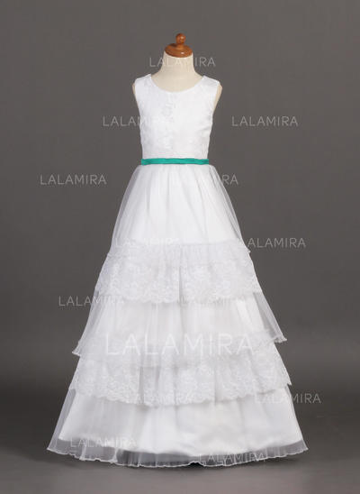 A-Line/Princess Floor-length Organza/Satin/Lace - Luxurious Flower Girl Dresses (010005807)
