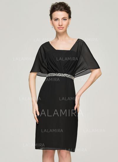 Sheath/Column Chiffon Short Sleeves V-neck Knee-Length Zipper Up Mother of the Bride Dresses (008062574)
