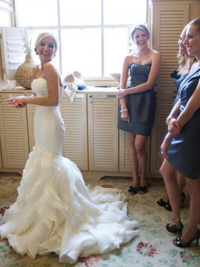 Coração Trompete/Sereia Vestidos de noiva Organza de Babados em cascata Sem Mangas Cauda de sereia (002144866)