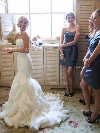 Sweetheart Trumpet/Mermaid Wedding Dresses Organza Cascading Ruffles Sleeveless Court Train (002144866)