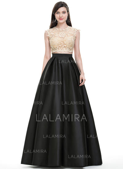 Ball-Gown Scoop Neck Floor-Length Satin Prom Dresses With Sequins (018105688)
