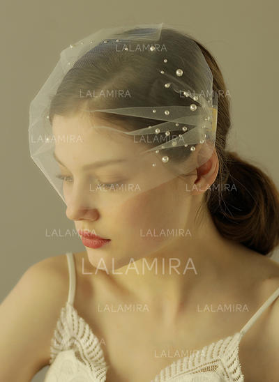 Velos colorete Tul con Corte de borde 14.56 pulgada (37cm) Blanco Velos de novia (006132070)