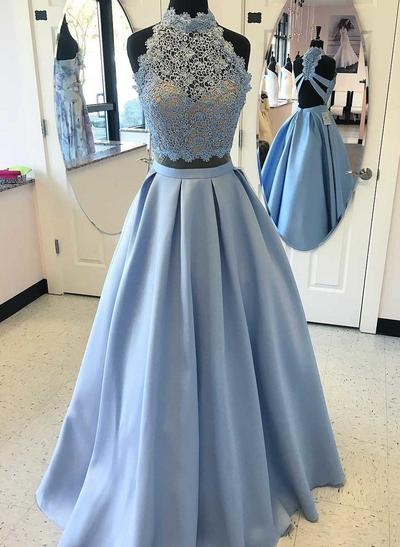 A-Line/Princess Satin Prom Dresses Beading Appliques Lace High Neck Sleeveless Floor-Length (018196669)