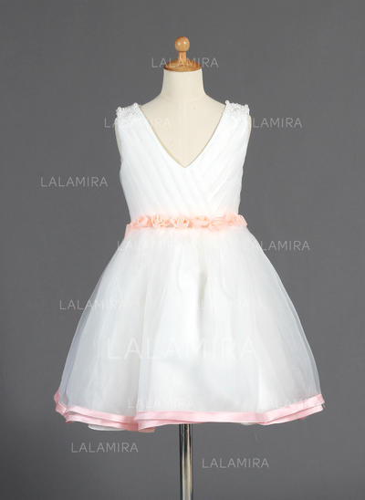 Knee-length Sleeveless Organza/Charmeuse With Elegant Flower Girl Dresses (010014664)