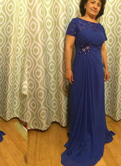 A-Line/Princess Chiffon Short Sleeves Scoop Neck Sweep Train Zipper Up Mother of the Bride Dresses (008212729)