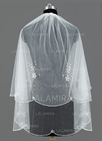 Fingertip Bridal Veils Tulle Two-tier Classic With Sequin Trim Edge Wedding Veils (006151645)