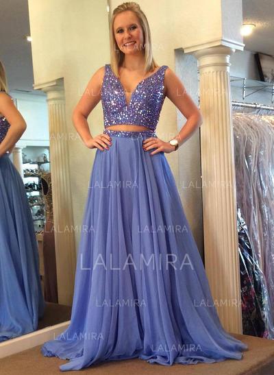 Chiffon V-neck A-Line/Princess Newest Prom Dresses