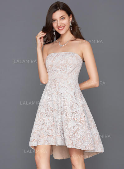 A-Line/Princess Strapless Asymmetrical Lace Cocktail Dress (016124574)