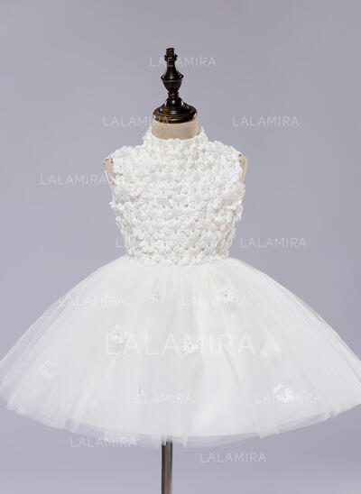 A-Line/Princess Knee-length Flower Girl Dress - Organza/Satin Sleeveless Scoop Neck With Flower(s) (010093516)