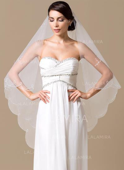 Velos de novia capilla Tul Uno capa Estilo clásico con Recortada Velos de novia (006066076)