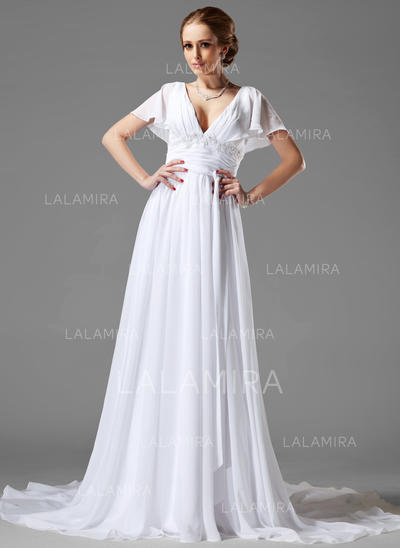 Fashion Chiffon Sweetheart Short Sleeves Wedding Dresses (002000687)