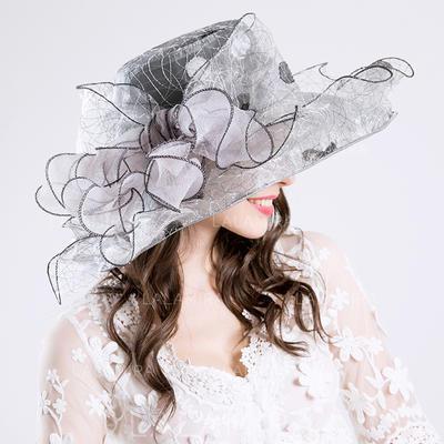 Bomull/Netto Garn med Silke blomst Diskett Hatt Nydelig Damene ' Hatter (196118621)