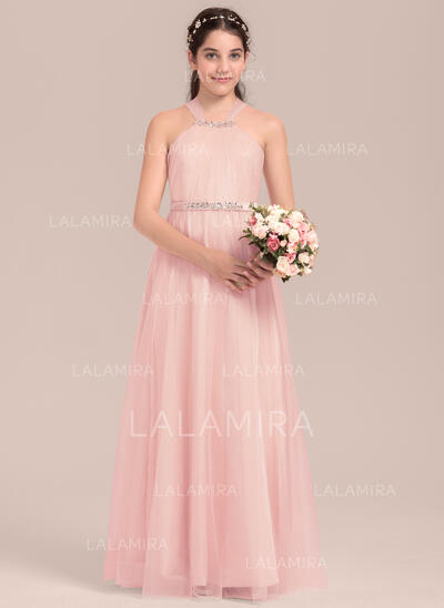 A-Line/Princess Floor-length Flower Girl Dress - Tulle/Charmeuse Sleeveless Square Neckline With Beading (010144538)