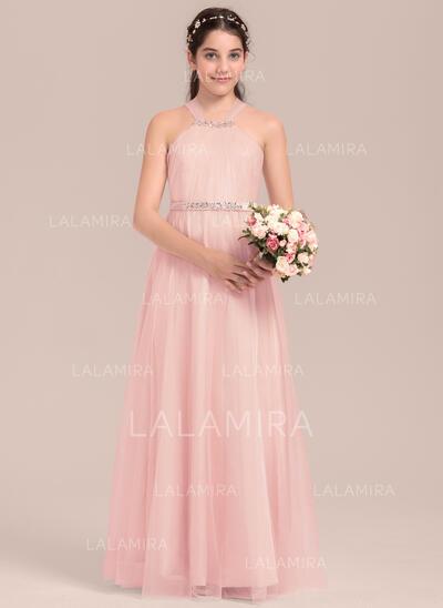Forme Princesse Longueur ras du sol Robes à Fleurs pour Filles - Tulle/Charmeuse Sans manches Encolure carrée avec Brodé (010144538)
