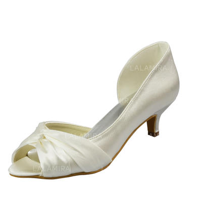 Women's Peep Toe Sandals Kitten Heel Satin With Ruched Wedding Shoes (047204894)