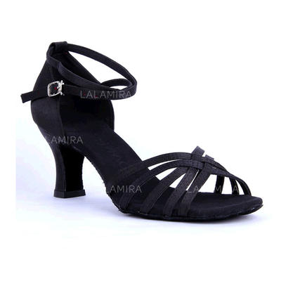 Women's Latin Sandals Satin With Ankle Strap Hollow-out Dance Shoes (053180824)
