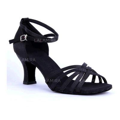 De mujer Danza latina Sandalias Satén con Tira de tobillo Agujereado Zapatos de danza (053103004)