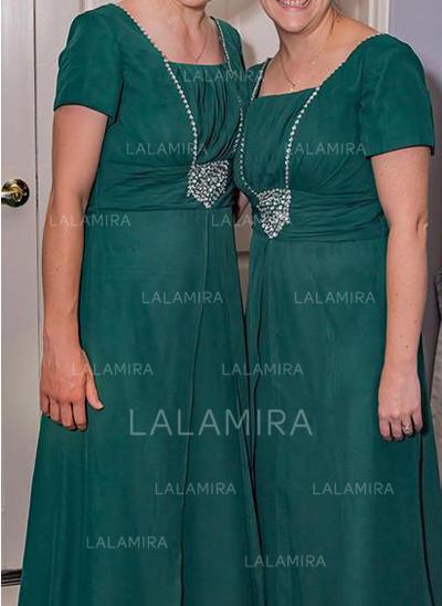 Forme Princesse Encolure carrée Mousseline Chic Robes mère de la mariée (008212810)