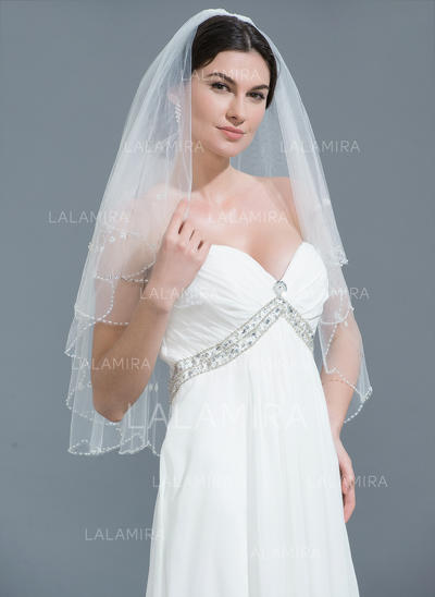Elbow Bridal Veils Tulle Two-tier Classic With Beaded Edge Wedding Veils (006152150)