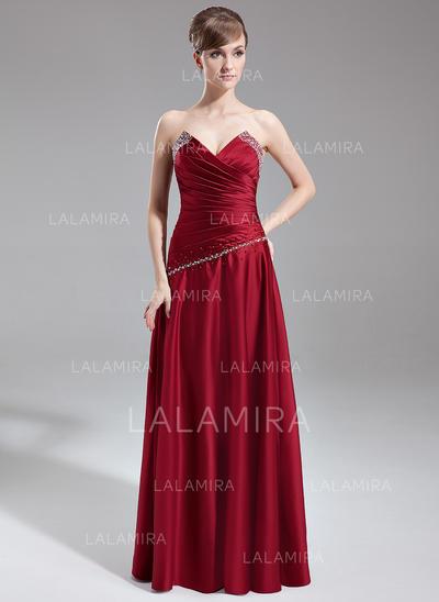 A-Line/Princess Floor-Length Satin Floor-Length Bridesmaid Dresses (007001127)