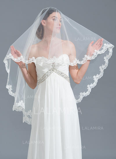 Waltz Bridal Veils Tulle One-tier Classic With Lace Applique Edge Wedding Veils (006152241)
