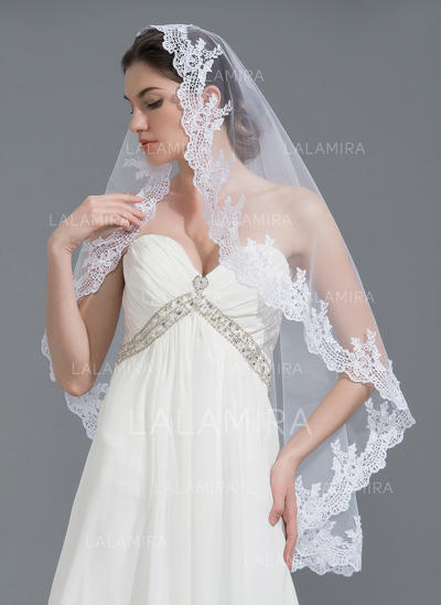 Fingertip Bridal Veils Tulle One-tier Oval With Lace Applique Edge Wedding Veils (006152198)