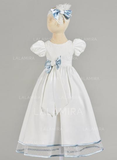 Satiné Col rond À ruban(s) Robes de baptême bébé fille avec Manches courtes (2001217412)