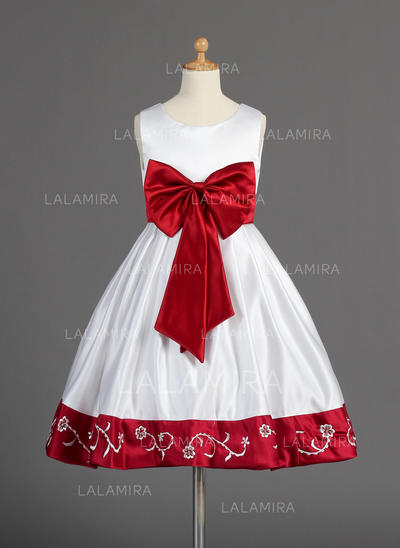 Modern A-Line/Princess Sash/Beading/Bow(s) Sleeveless Satin Flower Girl Dresses (010014596)
