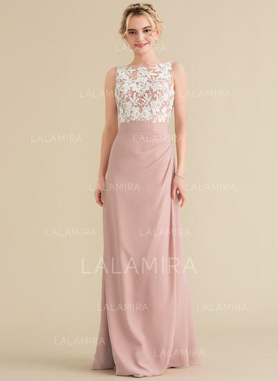 A-Line/Princess Scoop Neck Floor-Length Chiffon Lace Evening Dress With Ruffle (017164907)