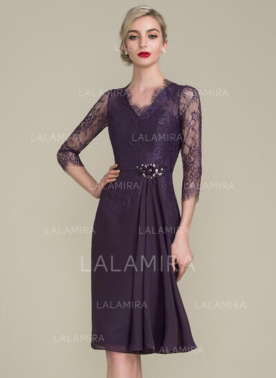 Sheath/Column V-neck Knee-Length Chiffon Lace Mother of the Bride Dress With Beading Flower(s) Sequins (008102693)