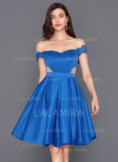 A-Line/Princess Off-the-Shoulder Knee-Length Satin Cocktail Dress (016124556)