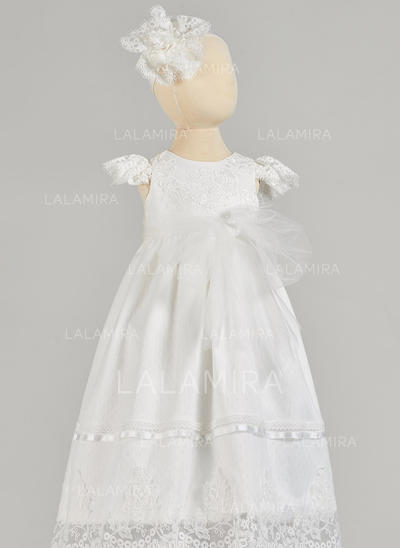A-Line/Princess Scoop Neck Floor-length Satin Tulle Christening Gowns (2001217423)
