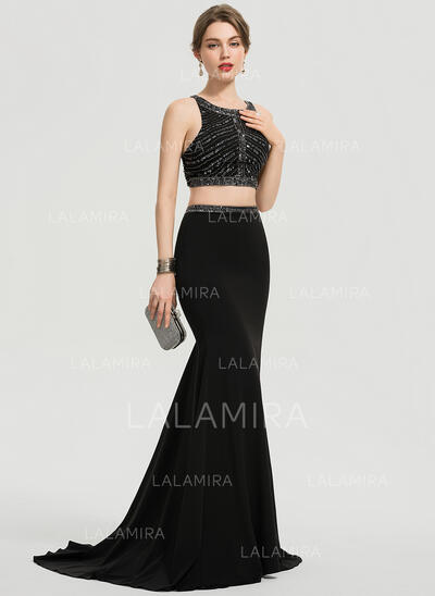 Trumpet/Mermaid Scoop Neck Sweep Train Stretch Crepe Prom Dresses With Beading Sequins (018192355)