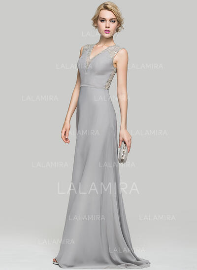 A-Line/Princess V-neck Sweep Train Chiffon Evening Dress (017086917)