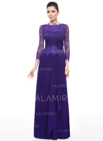 A-Line/Princess Scoop Neck Chiffon Lace Flattering Mother of the Bride Dresses (008211520)