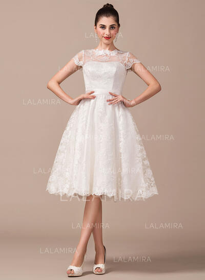 Illusion Knee-Length Lace Wedding Dress