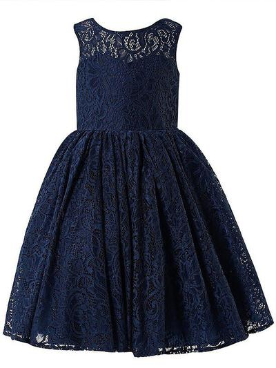 Scoop Neck A-Line/Princess Flower Girl Dresses Lace Bow(s) Sleeveless Ankle-length (010211807)