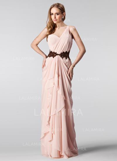 A-Line/Princess Floor-Length Prom Dresses One-Shoulder Chiffon Sleeveless (018004909)