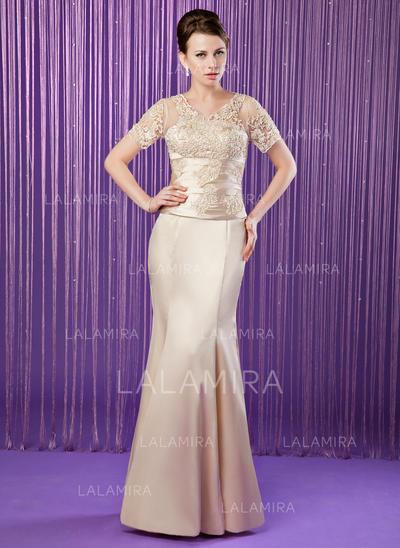 Elegante Escote en V Corte trompeta/sirena Charmeuse Vestidos de madrina (008211209)
