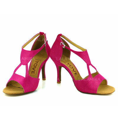 Women's Latin Heels Satin With Buckle Hollow-out Dance Shoes (053181150)