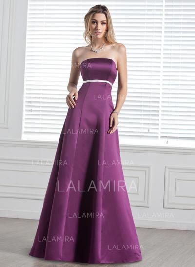 Empire Floor-Length Satin General Plus Bridesmaid Dresses (007000887)