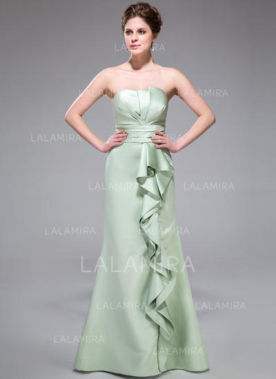 Floor-Length Trumpet/Mermaid Sleeveless Satin Bridesmaid Dresses (007198273)