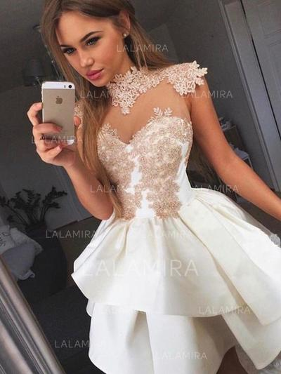 Appliques A-Line/Princess Short/Mini Satin Homecoming Dresses (022216274)