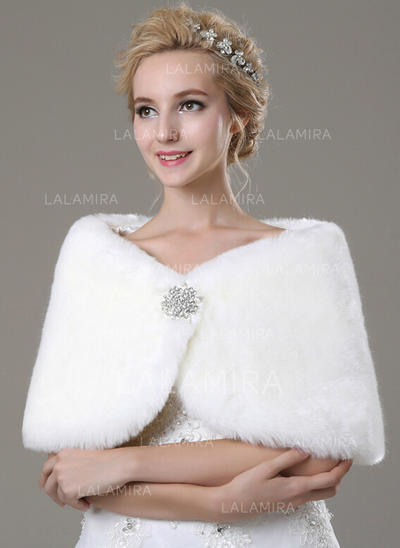 Shawl Fashion Faux Fur With Rhinestones Other Colors Wraps (013149698)