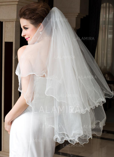 Fingertip Bridal Veils Tulle Two-tier Classic With Scalloped Edge Wedding Veils (006151474)