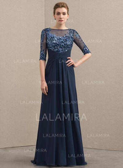 A-Line/Princess Scoop Neck Sweep Train Chiffon Lace Mother of the Bride Dress With Ruffle (008152129)