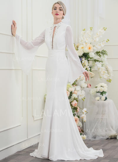 Beading lantejoulas Trompete/Sereia - Tecido de seda Vestidos de noiva (002096099)
